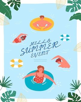 Ludzie na letnim basenie