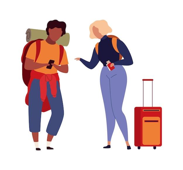Ludzie na lotnisku. turyści rodzinni podróżują z bagażem mężczyzną i kobietą z walizkami i torbami w hali odlotów czekają na samolot, pasażerowie w terminalu wektor płaski kreskówka na białym tle nowoczesne postacie