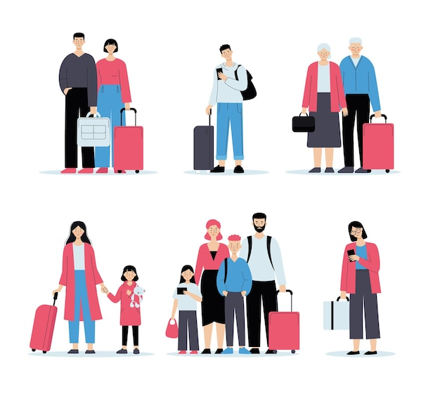 Ludzie na lotnisku z bagażem. kolejka do odprawy, podróże rodzinne, podróże służbowe. ilustracja w stylu płaski na białym tle.