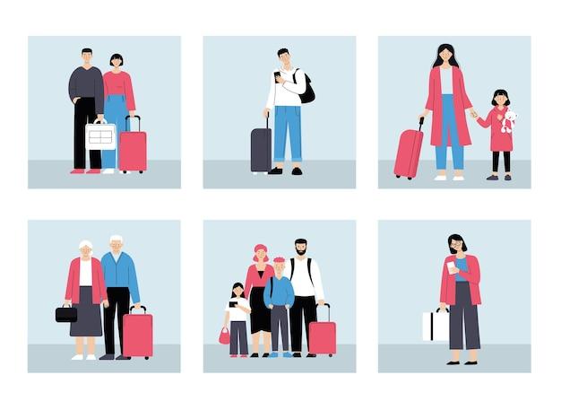 Ludzie na lotnisku z bagażem. kolejka do odprawy, podróże rodzinne, podróże służbowe. ilustracja wektorowa w stylu płaski na białym tle