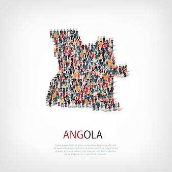 Ludzie na mapie kraju angola