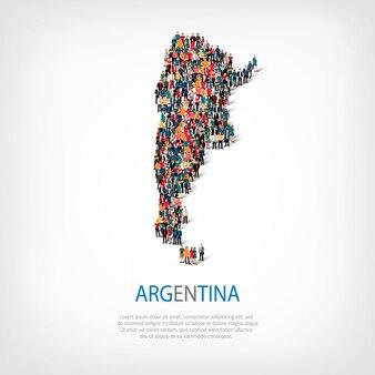 Ludzie na mapie kraju argentyna