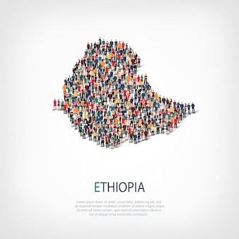 Ludzie na mapie kraju etiopia