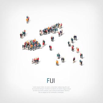 Ludzie na mapie kraju fidżi