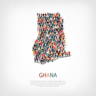 Ludzie na mapie kraju ghana