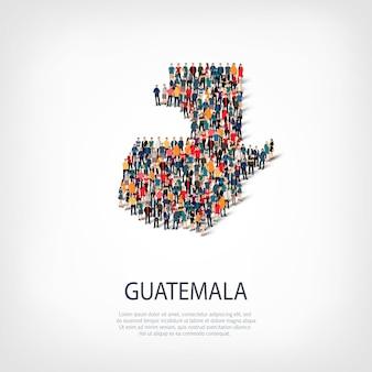 Ludzie na mapie kraju gwatemala