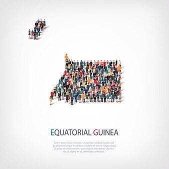 Ludzie na mapie kraju gwinea równikowa