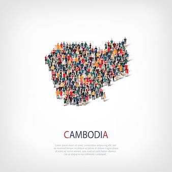 Ludzie na mapie kraju kambodża