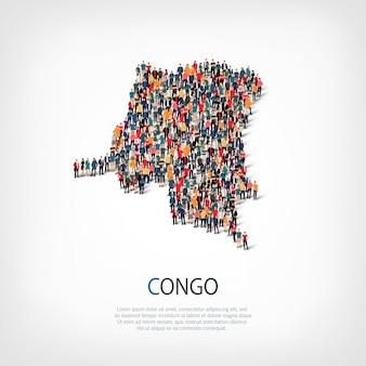 Ludzie na mapie kraju kongo