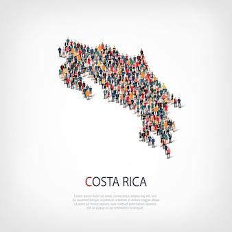 Ludzie na mapie kraju kostaryka