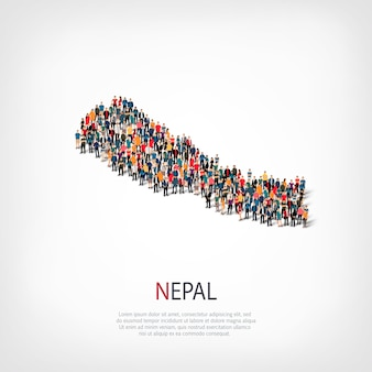 Ludzie na mapie kraju nepal