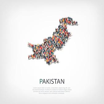 Ludzie na mapie kraju pakistan