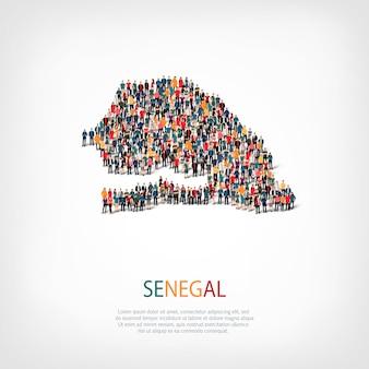 Ludzie na mapie kraju senegal