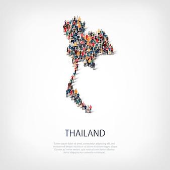 Ludzie na mapie kraju tajlandii
