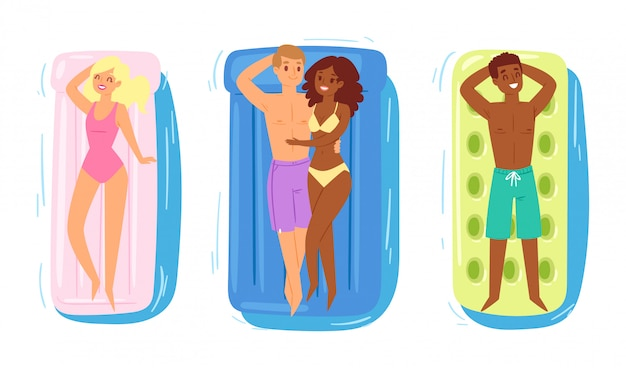 Ludzie na nadmuchiwany materac wektor kobieta mężczyzna znaków pływających strój kąpielowy