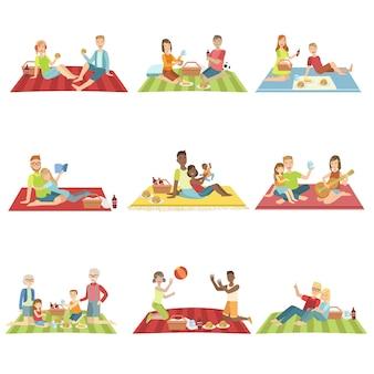 Ludzie na piknik na świeżym powietrzu