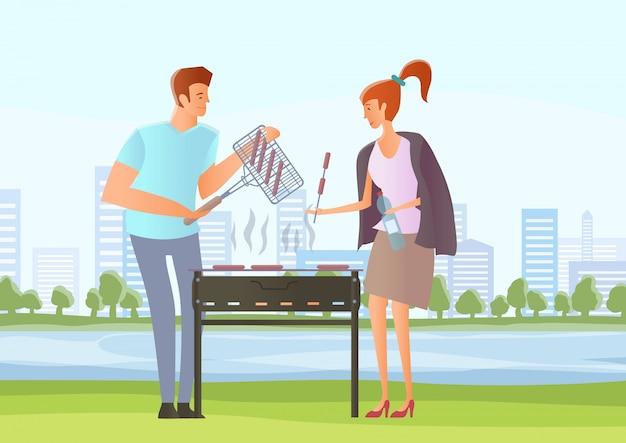 Ludzie na pikniku lub przyjęciu z grillem. mężczyzna i kobieta gotuje steki i kiełbaski na grillu. ilustracja.