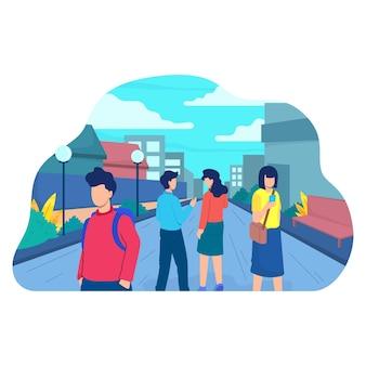 Ludzie na płaskich wakacjach na ulicy