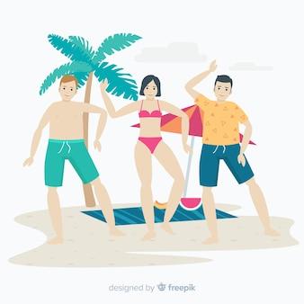 Ludzie na plaży cieszą się latem