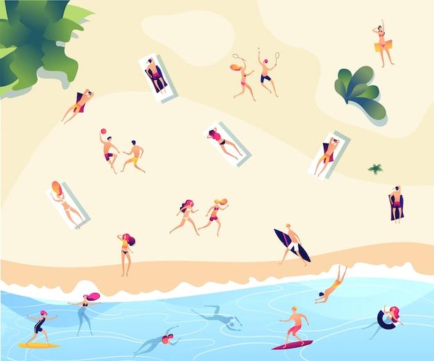 Ludzie na plaży latem. osoby pływają nurkować w dennym relaksującym opalającym aktywnym rodzinnych kobieta mężczyzna wodnych gier lata plaży pojęciu
