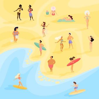 Ludzie na plaży. letnie wakacje nad morzem lub oceanem