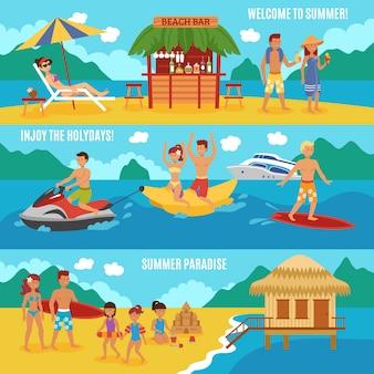 Ludzie na plaży ustawione