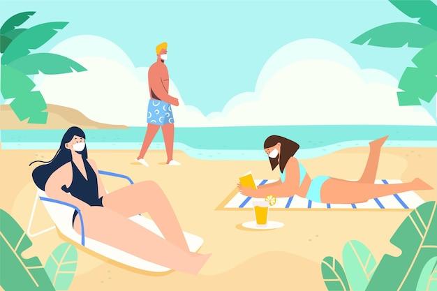 Ludzie na plaży w maskach na twarz
