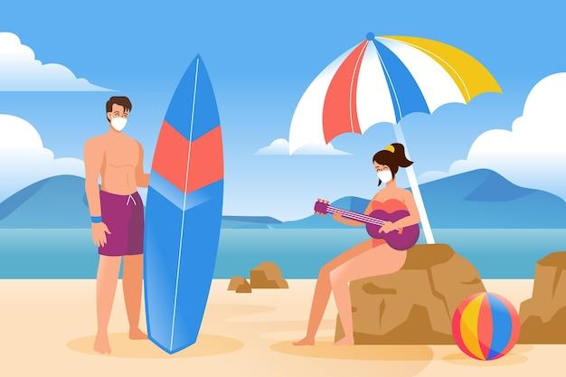 Ludzie na plaży w maskach