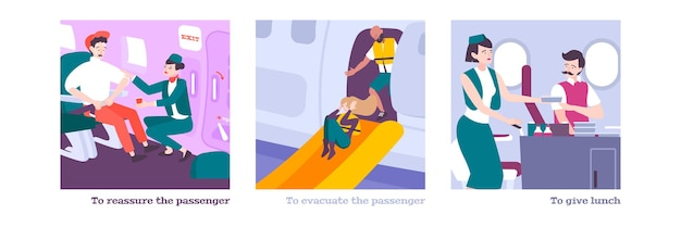 Ludzie na pokładzie płaskiej ilustracji