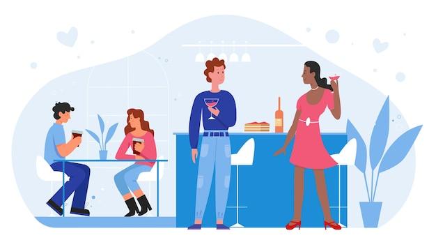 Ludzie na romantyczną randkę miłosną w płaskiej ilustracji baru.