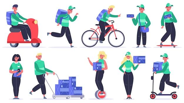 Ludzie na różnych pojazdach wysyłają paczki