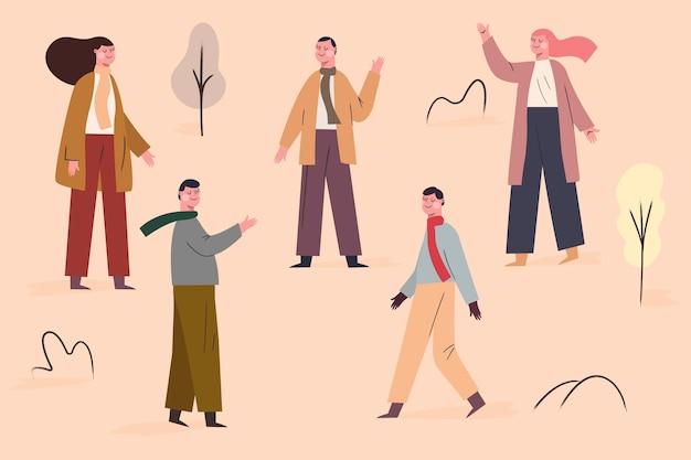 Ludzie na spacerach jesienią