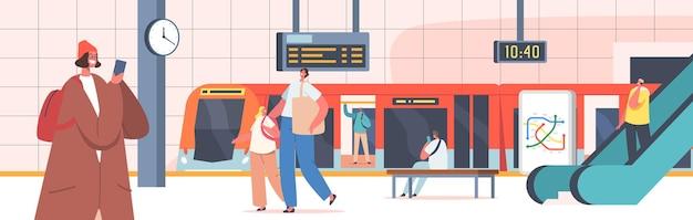 Ludzie na stacji metra z pociągiem, schodami ruchomymi, mapą, zegarem i wyświetlaczem cyfrowym. postacie męskie i żeńskie na publicznej platformie metra, komunikacji miejskiej, komunikacji miejskiej. ilustracja kreskówka wektor