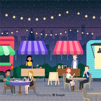 Ludzie na targach nocnych