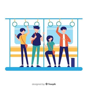 Ludzie na tle metra