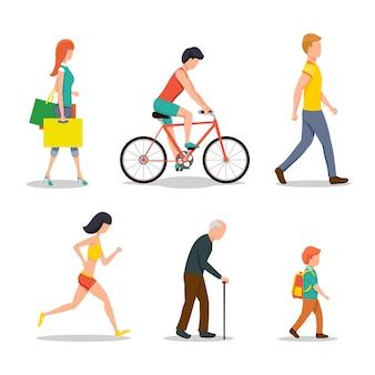 Ludzie na ulicy w stylu płaskiej