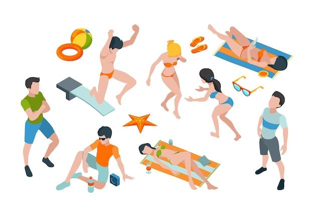 Ludzie na wakacjach. letnie postacie w strojach kąpielowych podróżują rajskie ubrania męskie i żeńskie wektor izometryczny