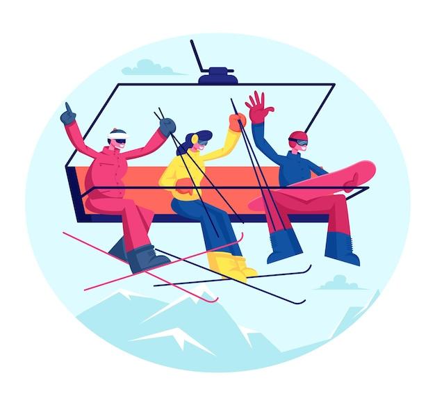 Ludzie na wakacjach w ośrodku narciarskim. narciarze i snowboardziści ze sprzętem jeżdżą na górę kolejką linową. płaskie ilustracja kreskówka