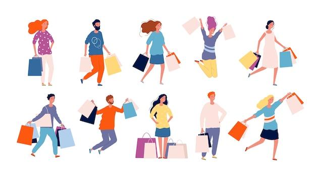 Ludzie na zakupy. mężczyzna i kobieta kupują produkty na rynku wektor kupujący kolekcja znaków. ilustracja kupujący zakupoholiczka, kobieta robi zakupy