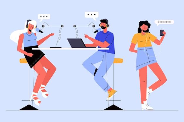 Ludzie nagrywają i słuchają podcastów