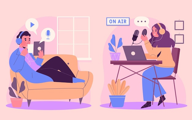 Ludzie nagrywający i słuchający ilustracji podcastów