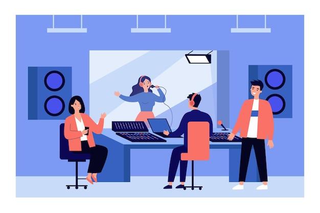 Ludzie nagrywający piosenkę w ilustracji studio dźwięku