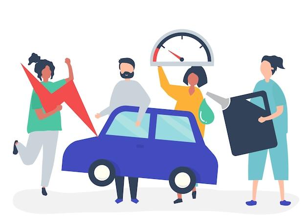 Ludzie napędzający samochód benzyną