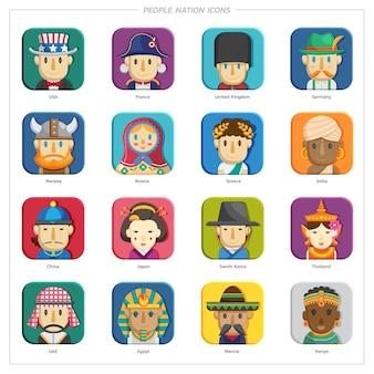 Ludzie naród ikony portrety ludzi różnych narodowości ludzie w tradycyjnych strojach.