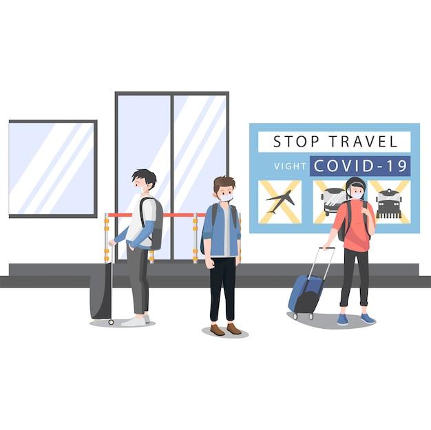 Ludzie nie mogą podróżować z powodu ilustracji covid19