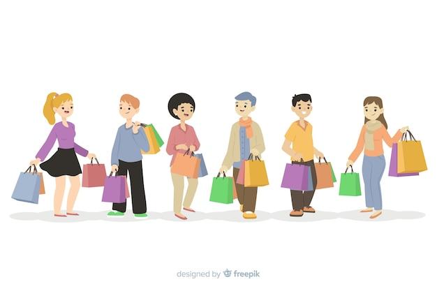 Ludzie niosący kolekcję toreb na zakupy