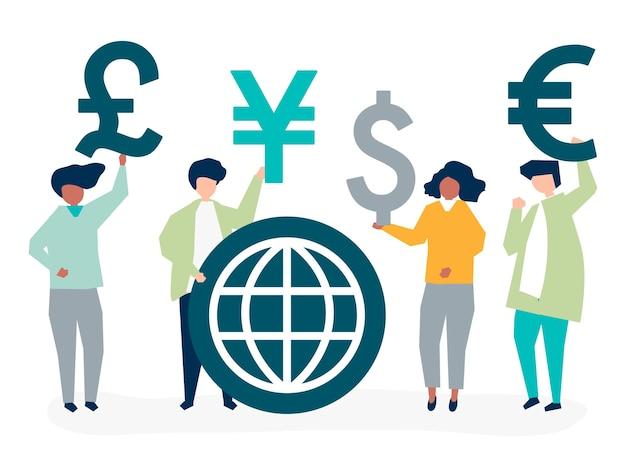 Ludzie niosący różny znak waluty