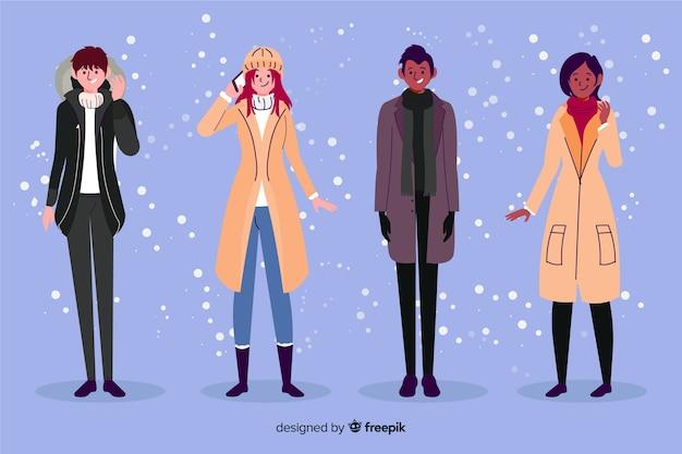Ludzie noszą ciepłe ubrania