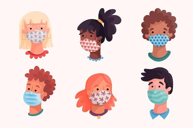 Ludzie noszą maseczki z tkaniny