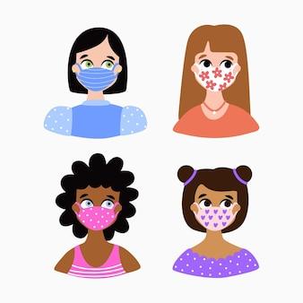Ludzie noszą maski ilustracyjne